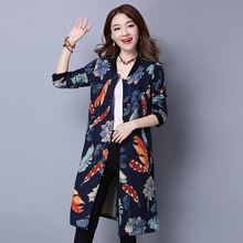 Autumn Women Floral Coat New Retro Ladies Round Neck Medium Long Parkas Casual Slim Thin Cotton