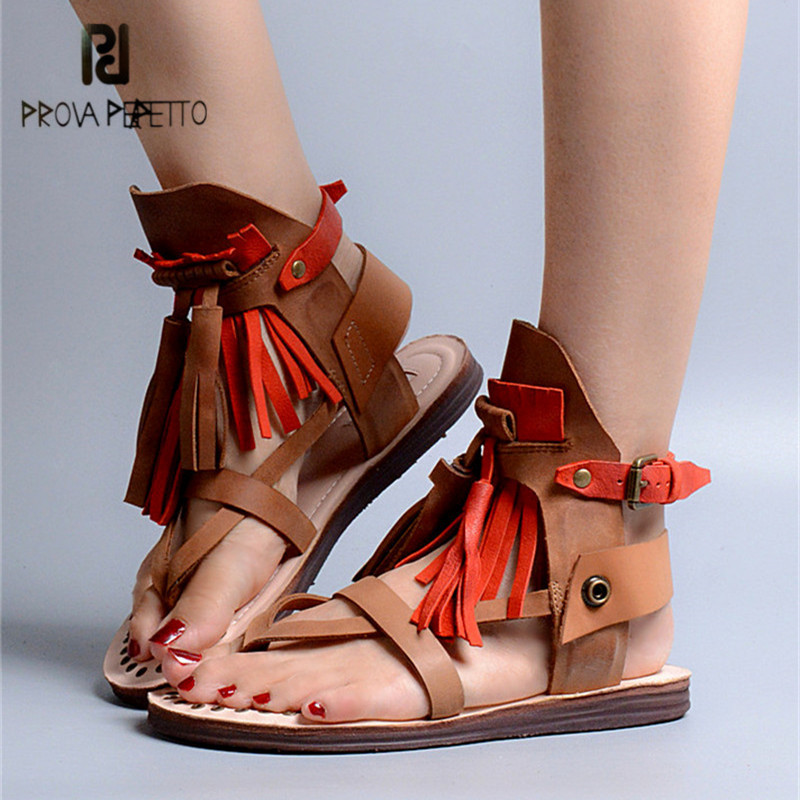 Prova Perfetto Mixed Color Women Flat Gladiator Sandals Flip Flops Fringed Summer Beach Shoes Woman Platform Sandalias Mujer summer style ankle tie flat sandals crosscriss rome boho gladiator sandals women flip flops casual shoes woman sandalias mujer