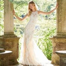 Verngo Appliques Lace Mermaid Wedding Dress Sleeveless Elegant Gowns Sexy Bride Boho Robe Mariage
