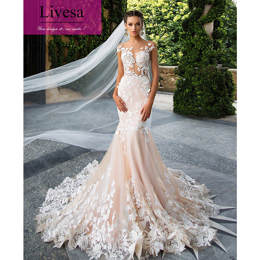 Lace Wedding Gown Designer: Designer Sexy Lace Mermaid Wedding Dress Light Pink See