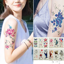 2019 New Waterproof  Art Temporary Tattoos 3D Butterfly Flower Fake Tattoos Sticker For Women Girls