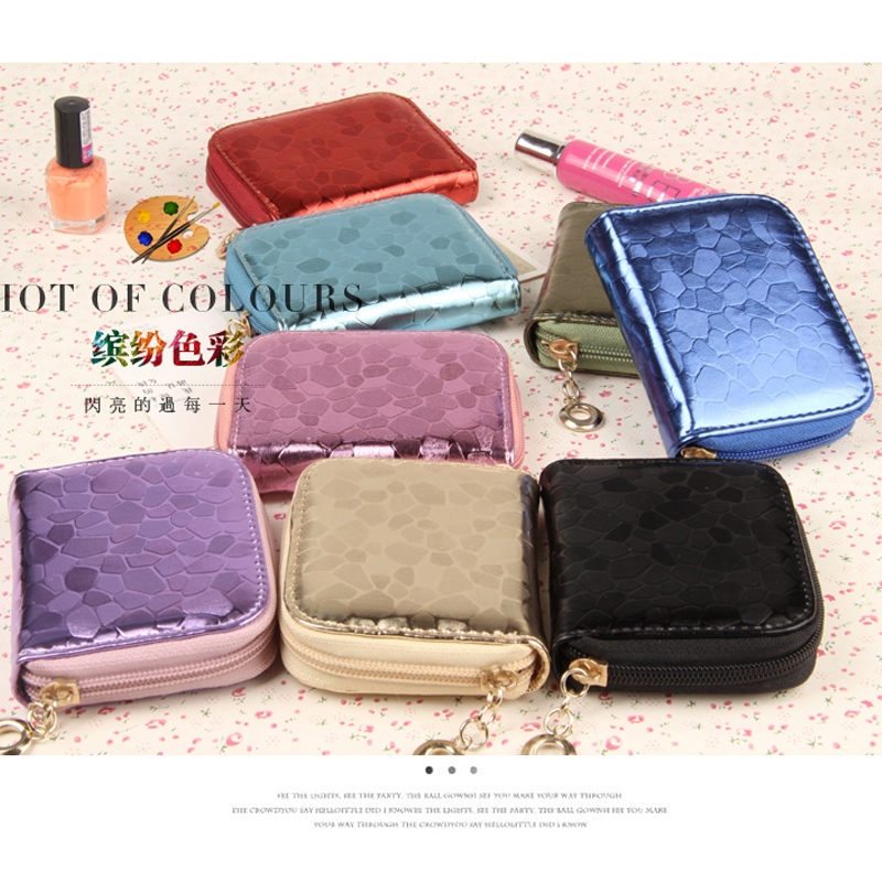 PU leather coin package fresh minimalist bright side zipper coin purse womens wallet