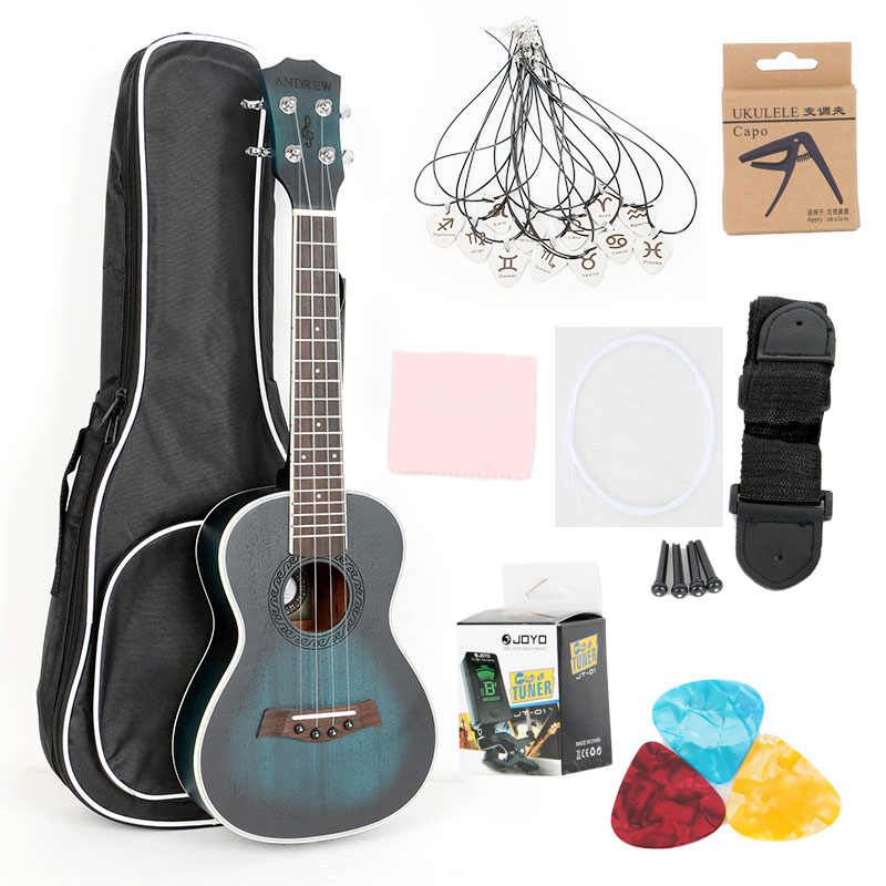 Ukulele Concert 23 Guitar 4 Nylon Strings Mahogany Fingerboard Rosewood 18 Fret Bag Strings Tuner Music
