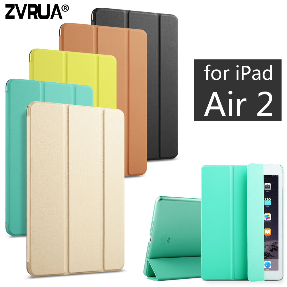 For iPad Air 2 ZVRUA YiPPee Color PU Smart Cover Case Magnet wake up sleep For