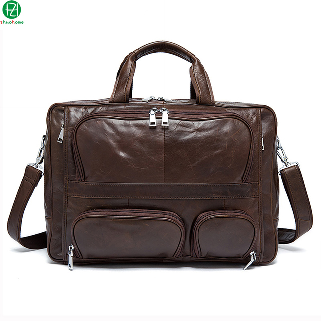 Man Bag Genuine Cowhide Leather Men Crossbody Should Handbags Fashion Men's Briefcase Laptop Business Tote messeng bags brown