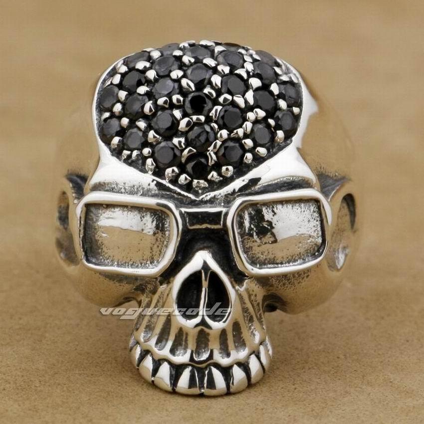 Black CZ Stones 925 Sterling Silver Pilot Skull Mens Biker Ring 9D003Black CZ Stones 925 Sterling Silver Pilot Skull Mens Biker Ring 9D003