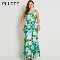 Plusee Dress Plus Size 3XL 4XL Women 2017 Autumn Green Mermaid Floral Patchwork Print Color Block