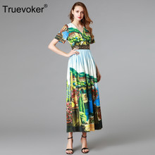 Truevoker Summer Designer Dress Women s Short Sleeve V-neck Countryside  Printed Casual Maxi Long Holiday Vestido Robe Femme Ete e254104ff479