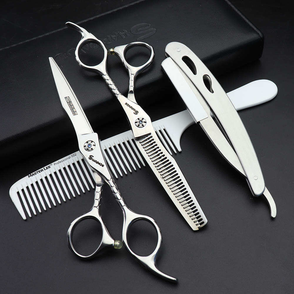 6-inch salon special hairdressing scissors hairdresser professional modeling tools Japan 440c barber scissors set razor 6 inch fashion hairdressing scissors set of beauty tool is sharp and affordable for hair salon for barber 2 set