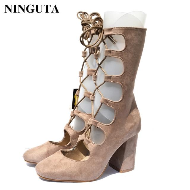 363aaa893 Botas de mujer de verano de marca tacones altos zapatos de mujer botas de  gladiador para