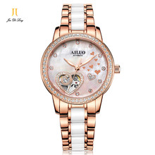 Brand Luxury Fashion Heart Hollow Out Watch Women Automatic Dress Watch Ladies Ceramic Diamond Wristwatch Waterproof