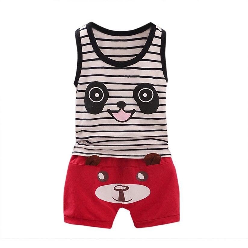 Детские спортивные костюмы модные милые летние Дети для маленьких мальчиков Panda футболка Топы + шорты; штаны комплект одежды P3
