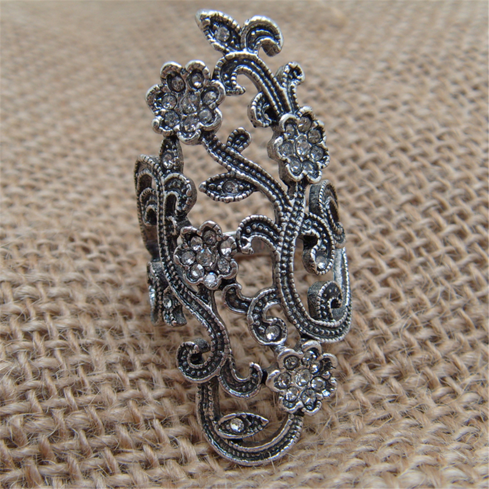 Amazing Romantic Cute Flower Rhinestone Rings Antique Silver color Vintage Retro Rings For Women Party Jewelry J01332