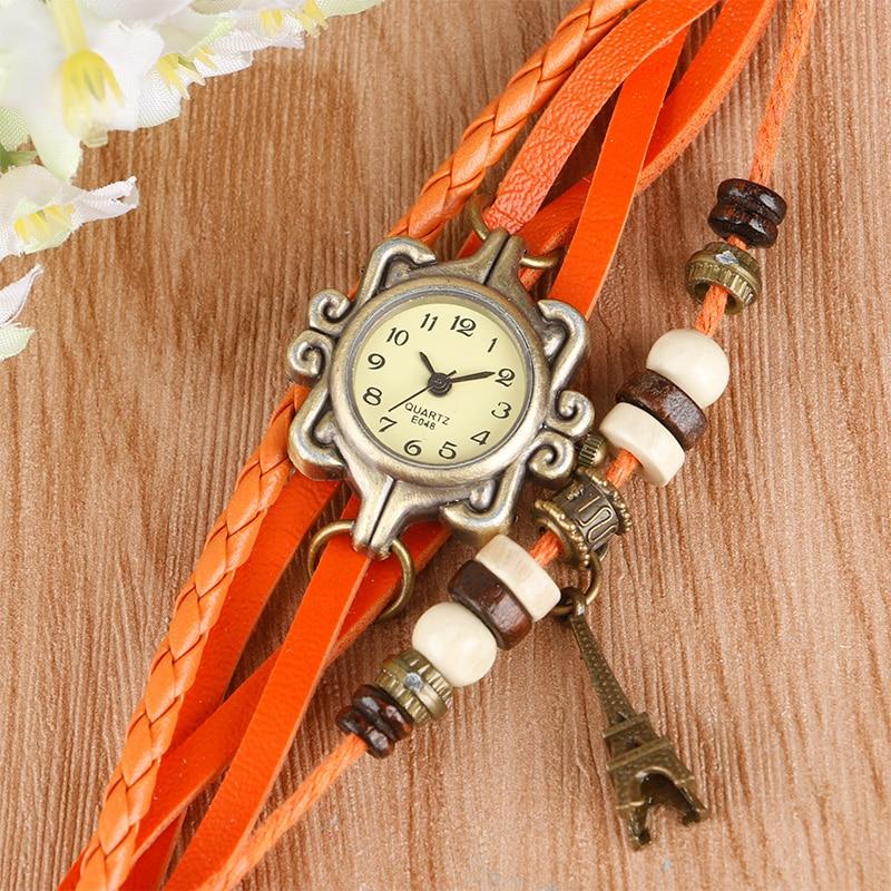 Stylish Women Braclet Wrist Watch Orange Leather Cas !