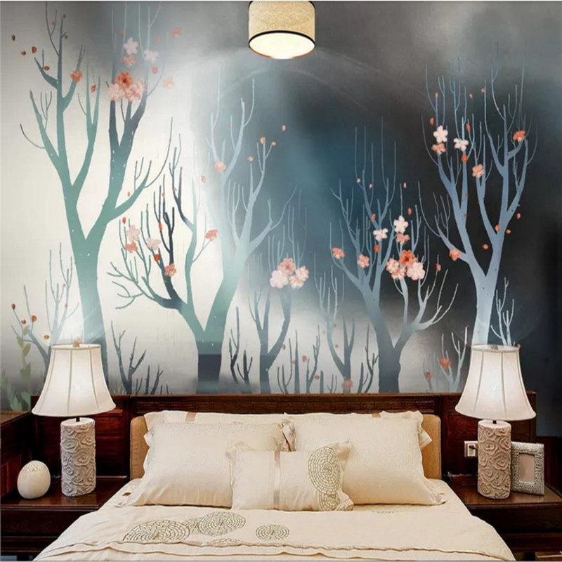 Custom Wallpaper Painted Forest Artistic Concept Simple Sofa Background Wall Decoration - High-grade Waterproof Material