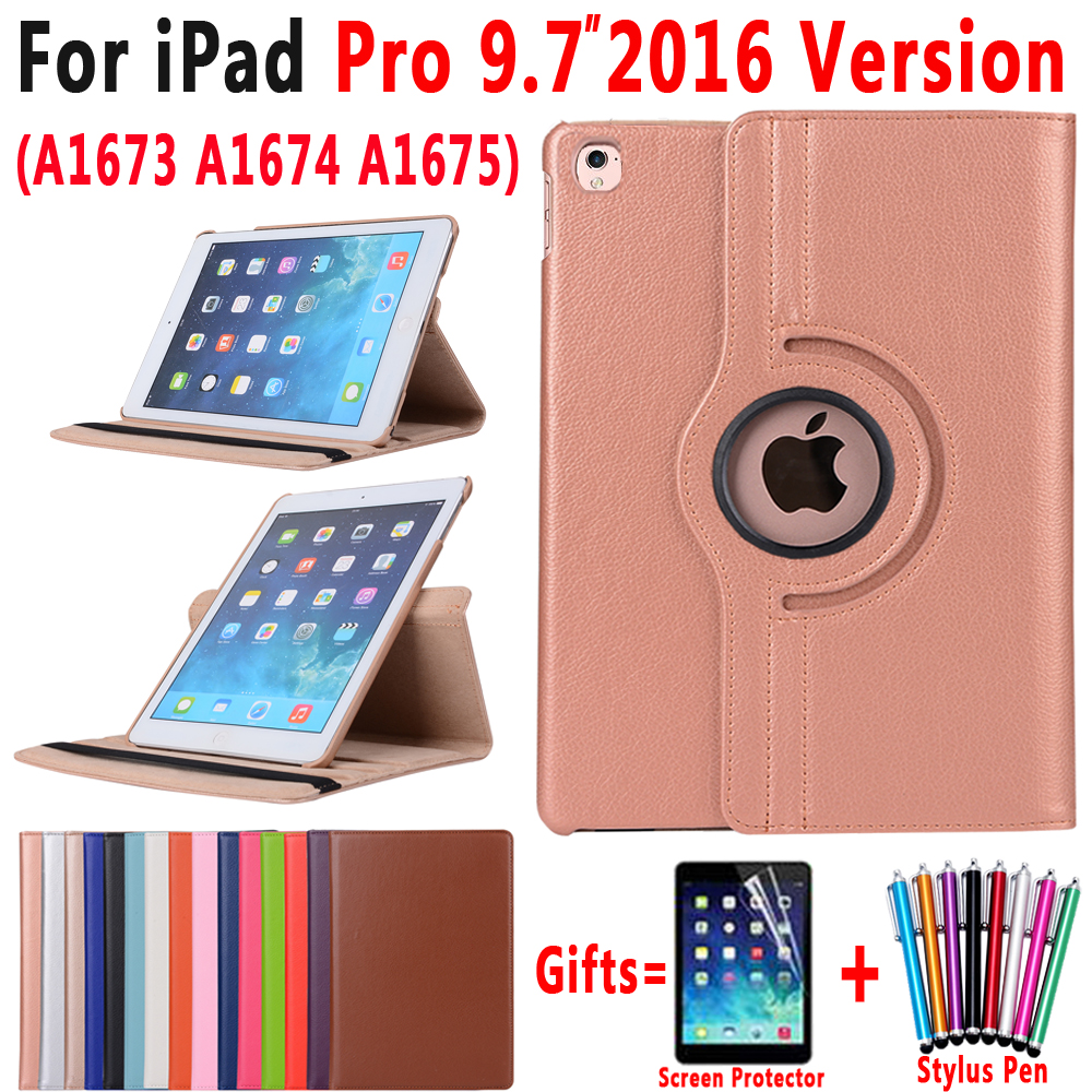 360 Degree Rotating Leather Smart Sleep Awake Cover Case for Apple iPad Pro 9.7  2016 A1673 A1674 A1675 Coque Capa Funda360 Degree Rotating Leather Smart Sleep Awake Cover Case for Apple iPad Pro 9.7  2016 A1673 A1674 A1675 Coque Capa Funda