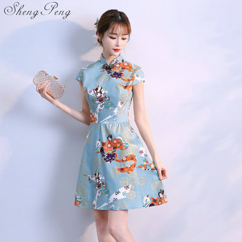 2018 new high chinese lady satin cheongsam short qipao chinese traditional simple dress vintage women flower cheongsam   CC373