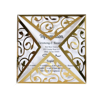 50pcs Laser Cut Lace Square Engagement Wedding Invitations Card Hollow Invites Cards, 4 colors, with Inner sheet Envelopes