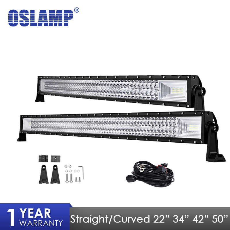 "Oslamp LED Light Bar 22"" 34"" 42"" 50"" Straight Curved Work Light Fit 4x4 Truck ATV RZR Trailer Car Roof Offroad Driving Bar Light"