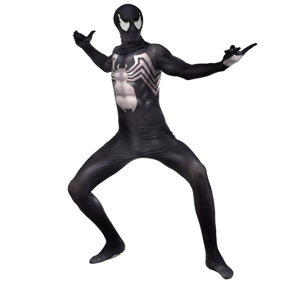 Comic Venom Cosplay Costume with Lense Men Party Bodysuit Spandex Zentai Sui