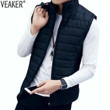 1876bea3fec2 2018 осень мужская пуховая жилетка куртка пальто сплошной цвет без рукавов  жилет мужской тонкий жилет Slim