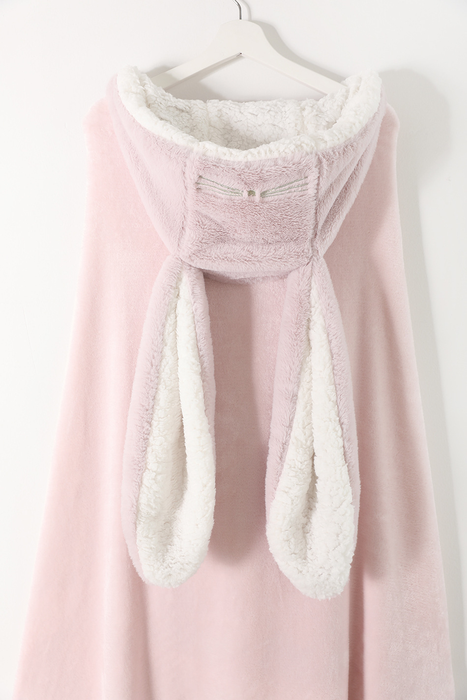 Cute Pink Comfy Blanket Sweatshirt Winter Warm Adults and Children Rabbit Ear Hooded Fleece Blanket Sleepwear Huge Bed Blankets 157