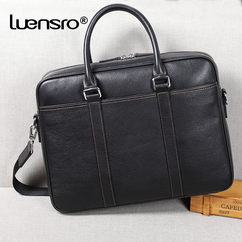 2019 nowy duży teczki słynnej marki prawdziwej skóry mężczyzna biznesu dużego ciężaru pracy torba na ramię Laptop teczki torebki biurowe dla mężczyzn w Teczki od Bagaże i torby na  Grupa 1