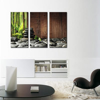 3 Picture Combination Wall Art Bamboo Grove And Black Zen Stones On The Old Wooden Background