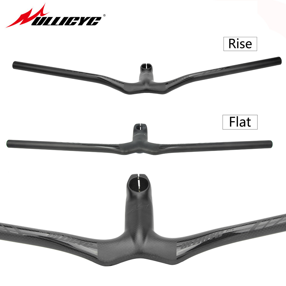 Ullicyc Carbon Fiber MTB Bicycle Riser One-shaped Integrated Handlebar With Stem 3K Black Matte Carbon MTB Handlebar YT862 toseek bicycle integrated horizontal handlebar stems 3k full carbon fibre bicycle one shaped handlebar mtb bike