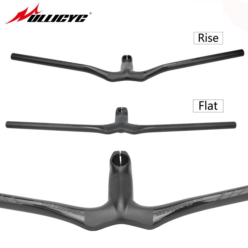Ullicyc Carbon Fiber MTB Bicycle Riser One-shaped Integrated Handlebar With Stem 3K Black Matte Carbon MTB Handlebar 1sheet matte surface 3k 100% carbon fiber plate sheet 2mm thickness