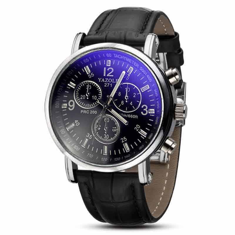 Relojes hombres reloj de moda de lujo de cuero de imitación azul Ray de vidrio de cuarzo relojes de los hombres pulsera de moda 2018JUL12