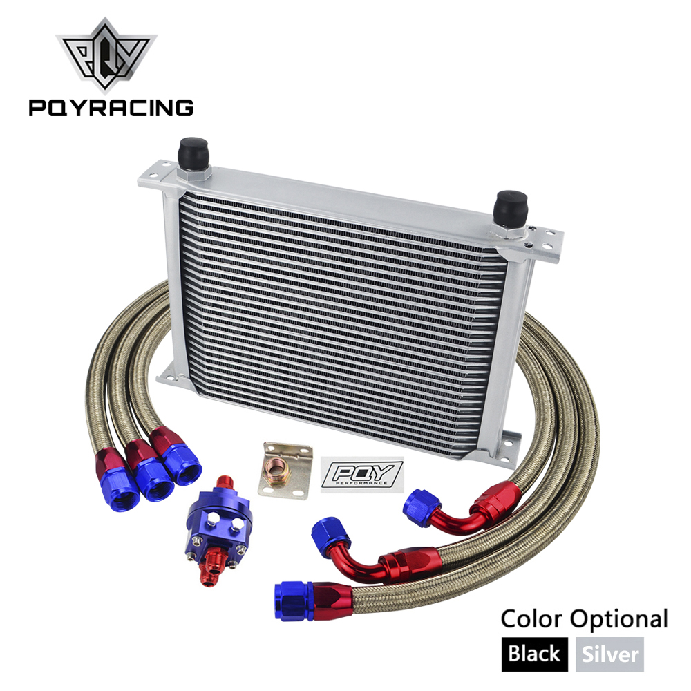 UNIVERSAL 28 ROWS AN10 OIL COOLER KIT +OIL FILTER ADAPTER + NYLON STAINLESS STEEL BRAIDED HOSE WITH PQY STICKER+BOX vr universal 10 rows trust type oil cooler oil filter adapter nylon stainless steel braided an10 hose w pqy sticker box