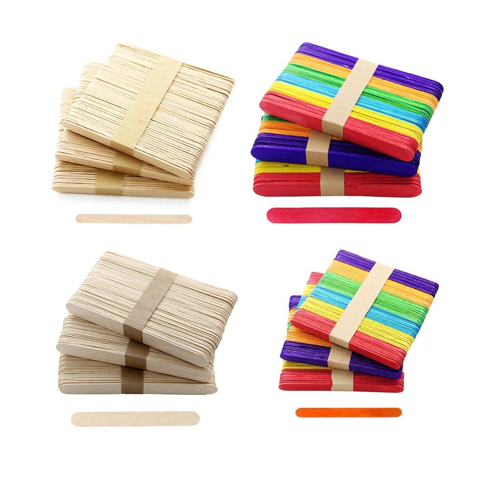 50Pcs/Lot Eco-friendly Wooden Ice Cream Sticks Natural Wood Popsicle Sticks Kindergarten Kids Toys DIY Handmade Crafts Art Tools