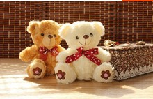 10 pieces cute teddy bear toy plush white and brown teddy bear toy with flower on feet gift doll about 20cm 0512