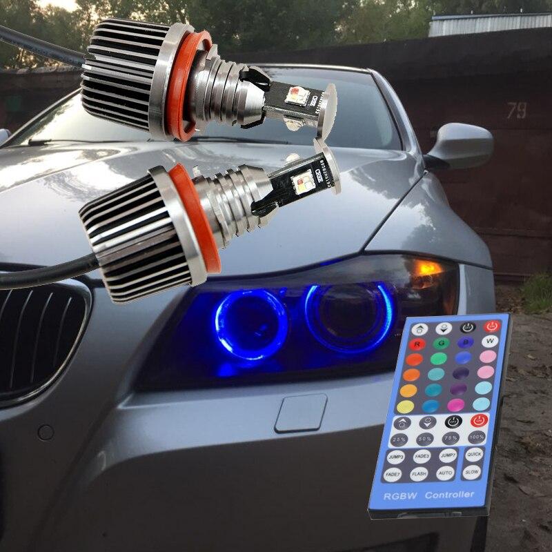 36 W Canbus H8 led ange yeux éclairage E87 E90 M3 E82 E92 M3 E60 X5 X6 E89 Z4 RVB led qui change de couleur halo lumineux de contrôle IR