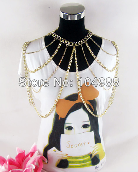 FREE SHIPPING New Fashion Women Multi-layers Punk Pearl Gold Tone Chains Body Chains Sla ...