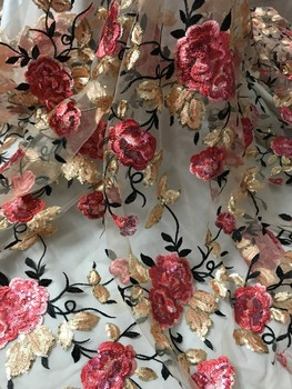 luxury SYJ-51523 flower sequins Embroidered African tulle French Lace Fabric With best quality