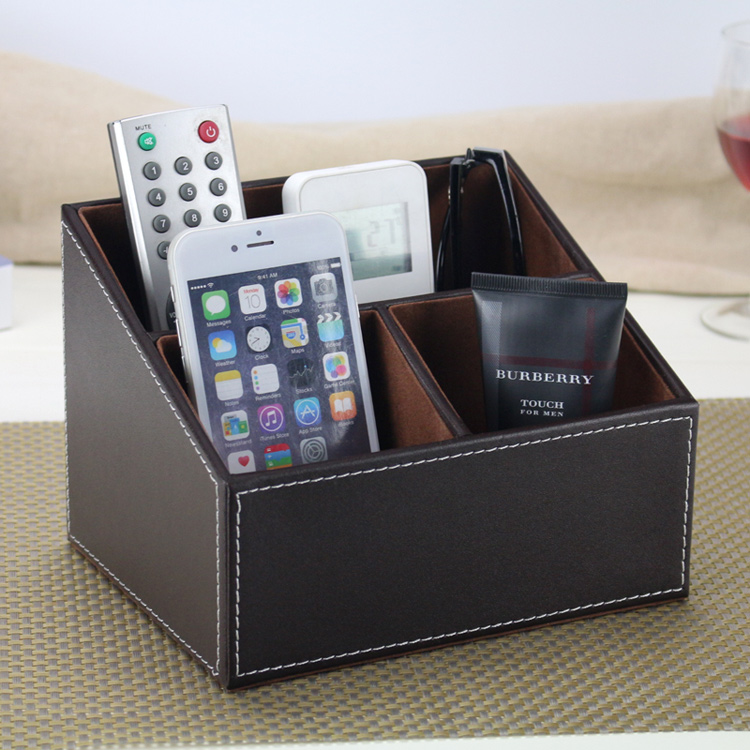 Classic Leather Office Desk Organizer Black Brown Desk Storage Case Pencil Holder Stationery Collection Box pen pencil holder box full half pu leather case desk stationery organizer storage box desk accessories school
