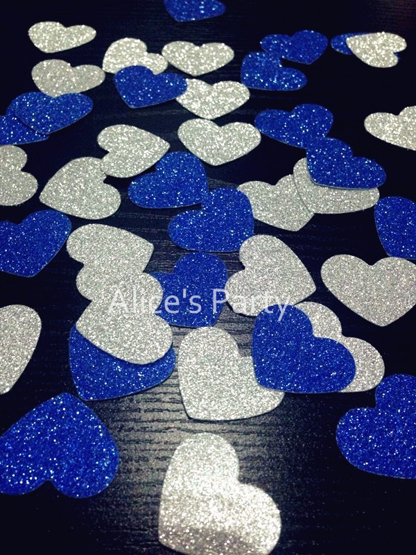 Hand Punched 400pcs Silver Royal Blue Heart Confetti