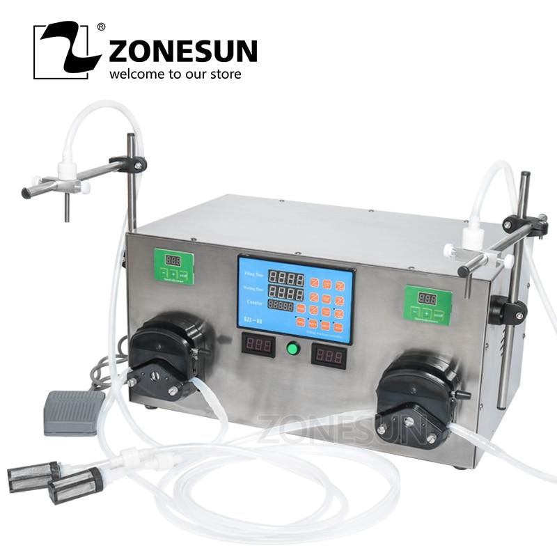 ZONESUN 2 Heads Perfume Water Juice Essential Oil Alcohol Hydrogen Peroxide Peristaltic Pump Liquid Filling Machine 3-2500ml