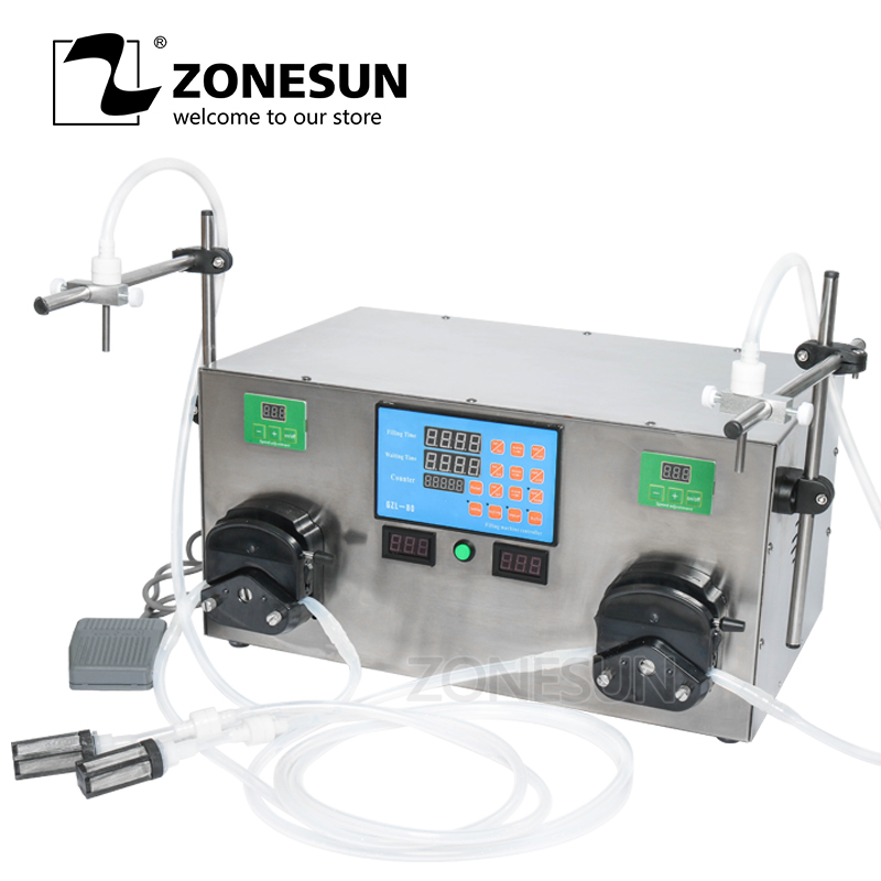 ZONESUN 2 Heads Perfume Water Juice Essential Oil Electric Digital Control Peristaltic Pump Liquid Filling Machine 3-2500ml
