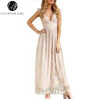 שושן רוזי ילדה סקסי V צוואר פאייטים רשת נשים מקסי שמלת 2017 מפלגה ללא משענת Vestidos שרוול קצר ארוך אלגנטי סתיו שמלת