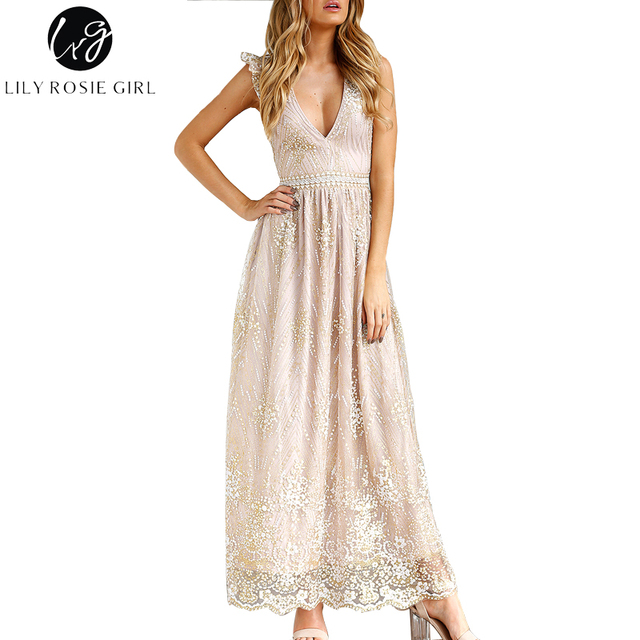 Lily Rosie Girl Sexy V Neck Mesh Sequins Women Maxi Dress 2017 Autumn  Elegant Long Vestidos Short Sleeve Backless Party Dress 0124aeef3afb