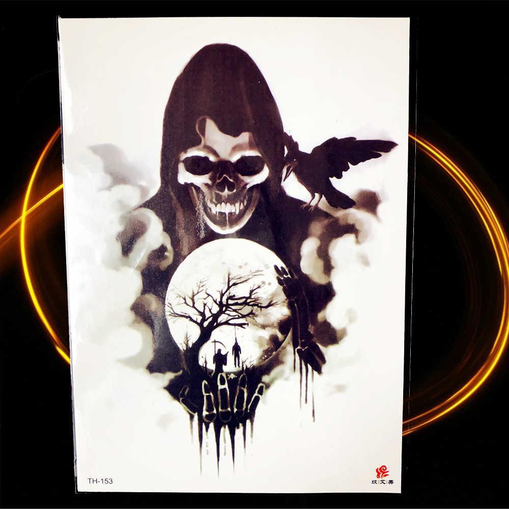 Halloween Horrifying Demon Temporary Tattoo Women Chest Joker Magician Tattoo Stickers Leg Waist Black Poker Cards Tatoo Arm Men
