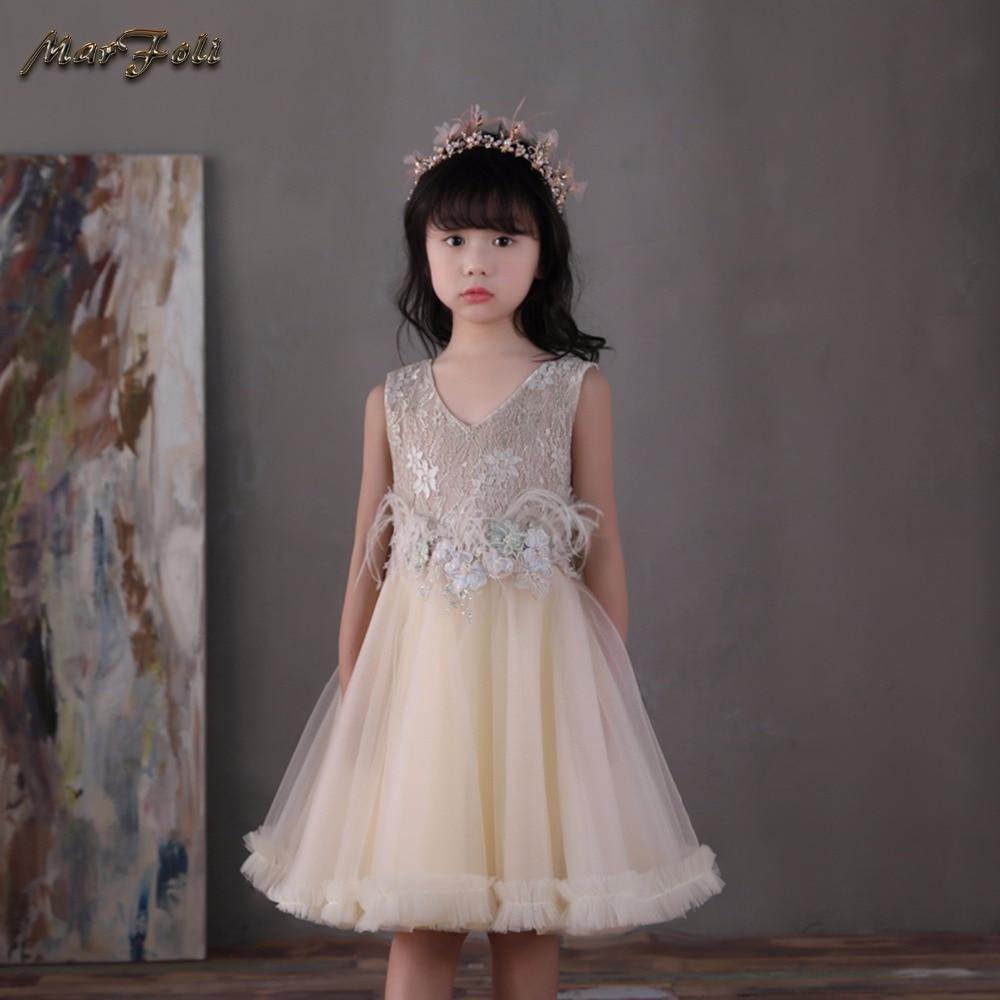Marfoli Flower Girl Dress Pink Rose Wedding Pageant Kids Boutique 2017 Summer Princess Party Dresses Clothes ZT0065 marfoli girl princess dress birthday