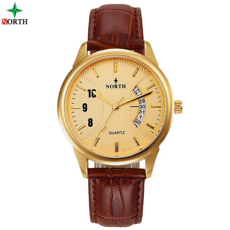 North Men Fashion Horloge Casual Echt leer Montre Homme 30M - Herenhorloges