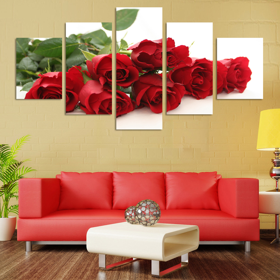 Romnatic Design Rose Flowers Painting Home Decoration Wedding Wall ...
