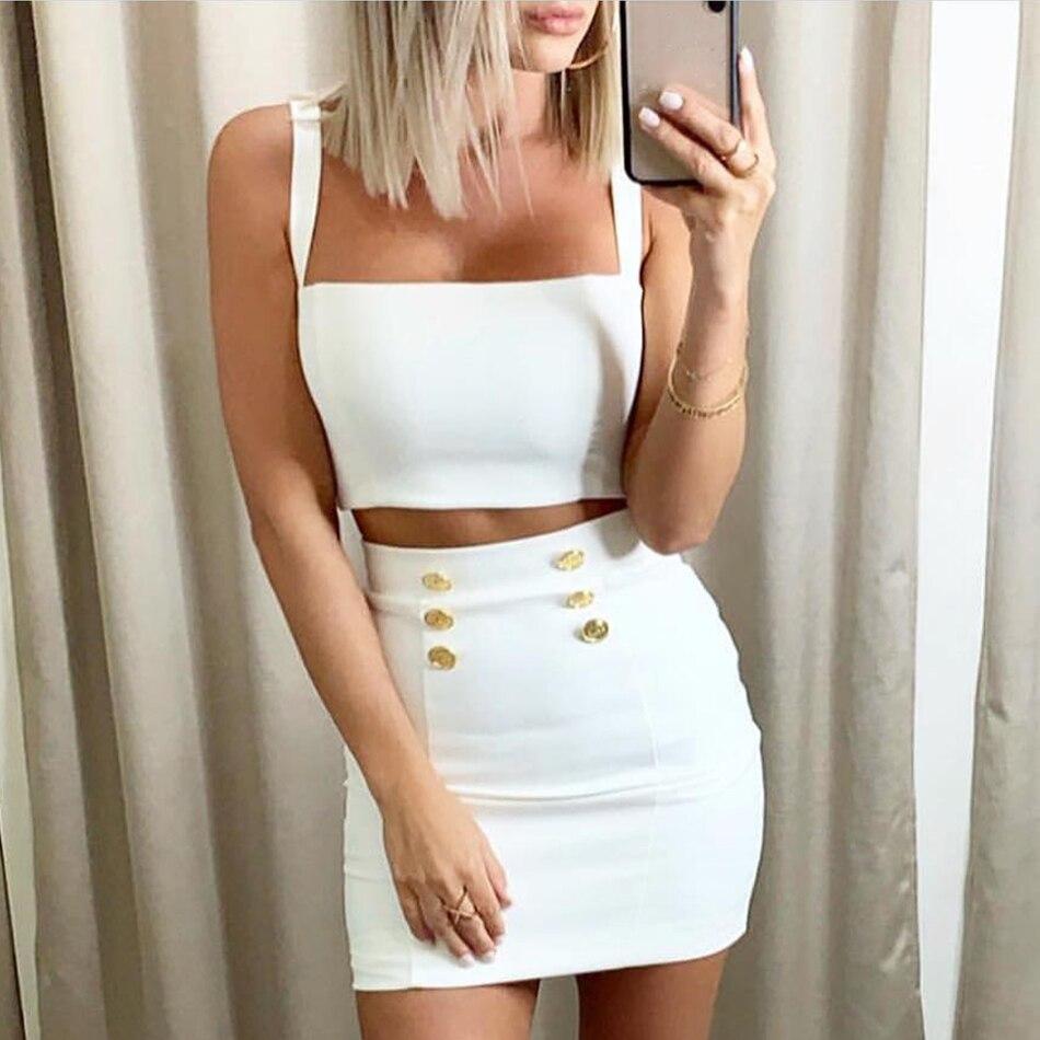 ADYCE 2019 новый летний Bodycon бинты наборы для ухода за кожей 2 двойка Комплект Топ и юбки женщин Vestidos черный, белый цвет знаменитости Вечеринка