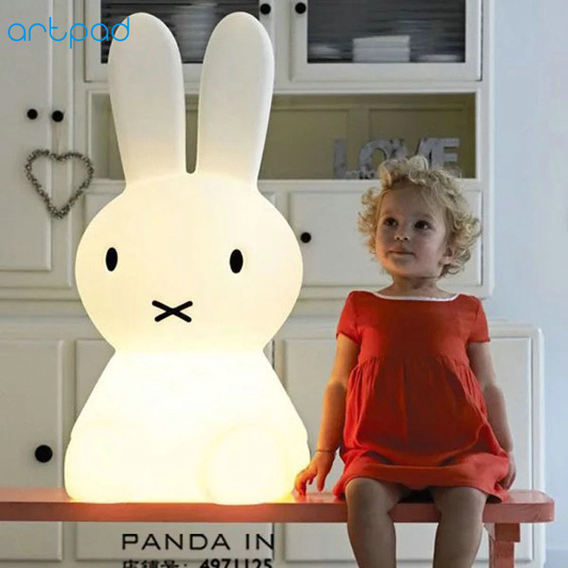 Artpad Dimmer Big Size LED Rabbit Table Lamp for Kids Cartoon Figure DC12V Plug in Baby Night Light For Bedroom Desk Lighting artpad pink blue cartoon figures led unicorn lamp e14 resin dimming eu us plug in kids baby night light for children
