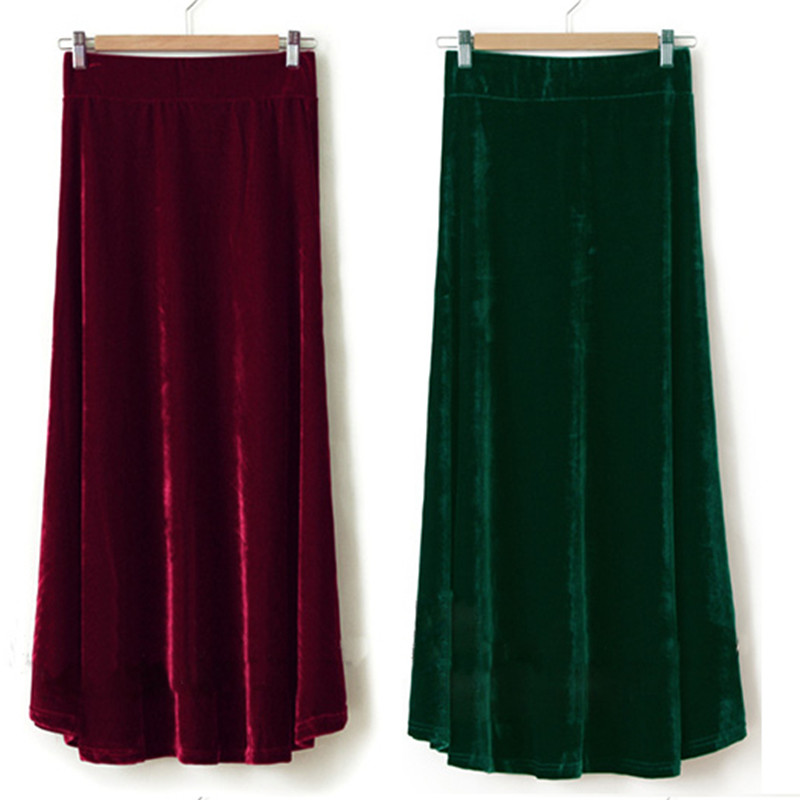 Free Shipping 2019 XS-10XL Fashion Long Maxi A-line Skirts For Women Elastic Waist Winter Customzied Velour Pleated Velvet Skirt
